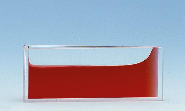 Wedge-shaped glass vessel