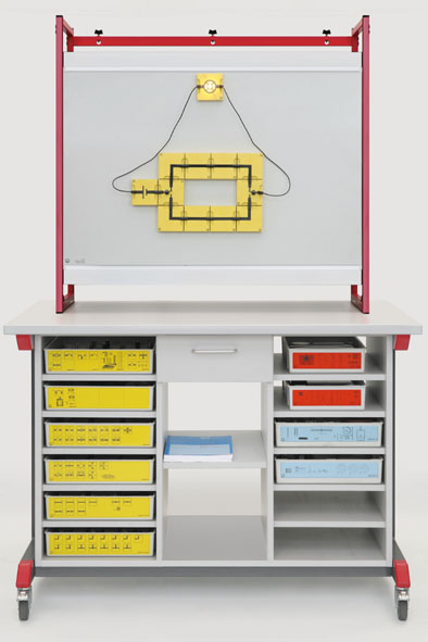 Demonstration experiment trolley, complete package for mechanics, optics and electricity (BST).