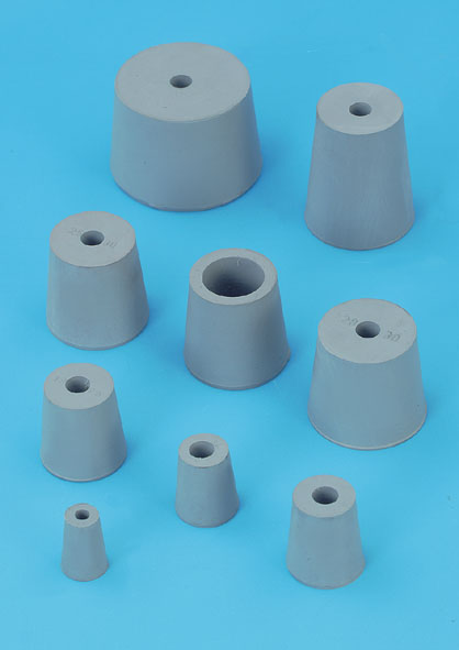 Rubber stopper, one 7-mm hole, 16...21 mm Ø