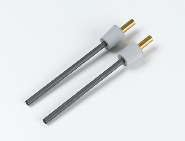 Rod electrodes, carbon, with stoppers, set of 2