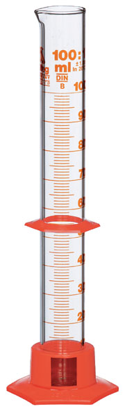Measuring cylinder 100 ml, with plastic base