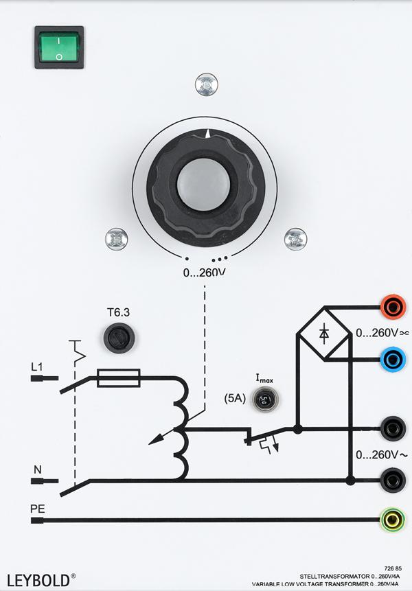 Adjustable transformer 0...260 V