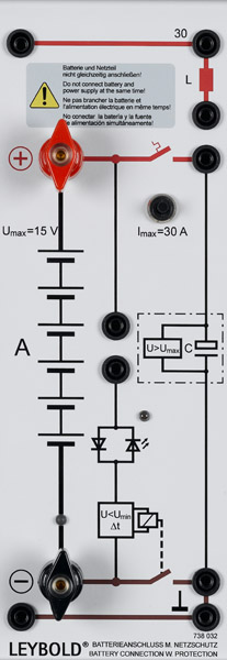 Battery connection with protection circuit