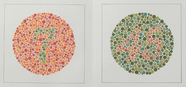 Ishihara test wallet for color vision disturbances