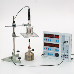 Determining the melting and the solidification temperature/Wood's metal - Measurement with Sensor-CASSY and CASSY-Display