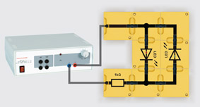 Polarity tester for light-emitting diodes - Assembly using connector blocks