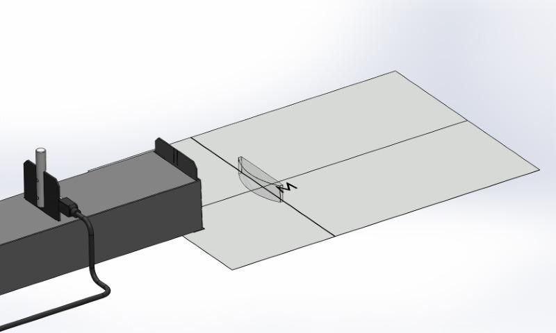 Optical path of a plano-convex lens