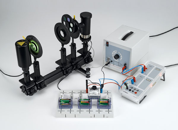 Determining Planck's constant - Recording the current-voltage characteristics, selection of wavelengths using interference filters on the optical bench
